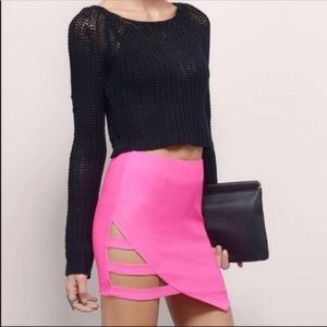 Hot pink cut out mini skirt
